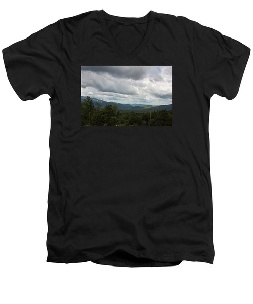 Men's V-Neck T-Shirt featuring the photograph View From Mount Washington by Suzanne Gaff