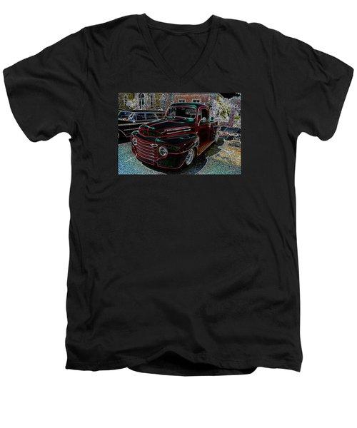 Vintage Chevy Truck Neon Art Men's V-Neck T-Shirt