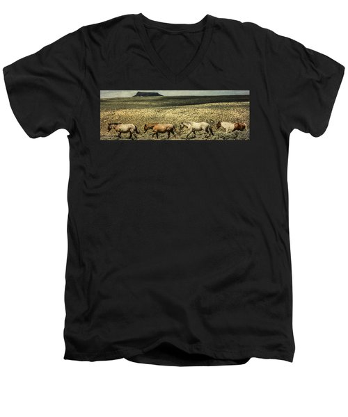 Walking The Line At Pilot Butte Men's V-Neck T-Shirt