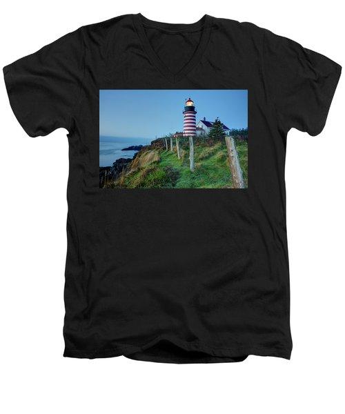 West Quoddy Head Light Men's V-Neck T-Shirt