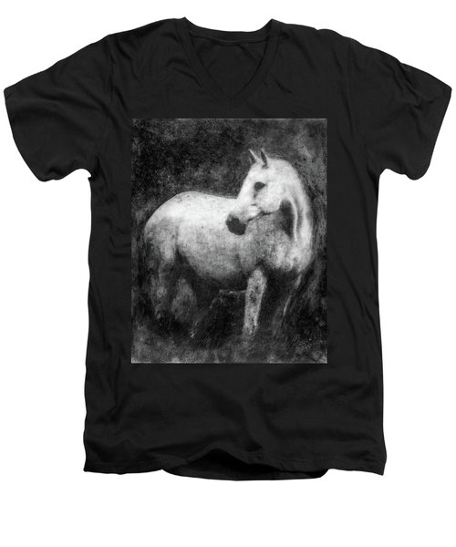 White Horse Portrait Men's V-Neck T-Shirt