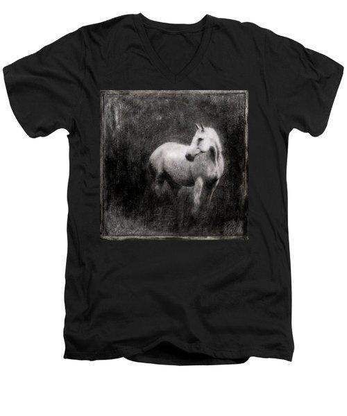 White Horse Men's V-Neck T-Shirt by Roseanne Jones