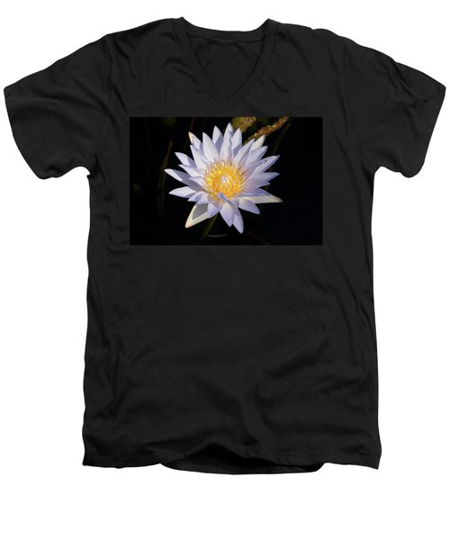 Men's V-Neck T-Shirt featuring the photograph White Water Lily by Steve Stuller