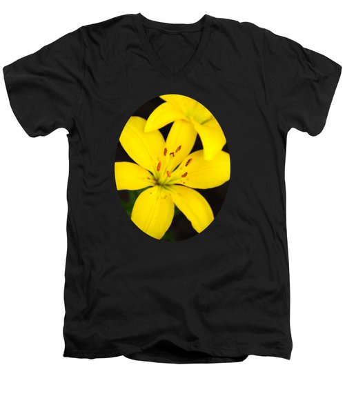 Yellow Lily Flower Men's V-Neck T-Shirt by Christina Rollo