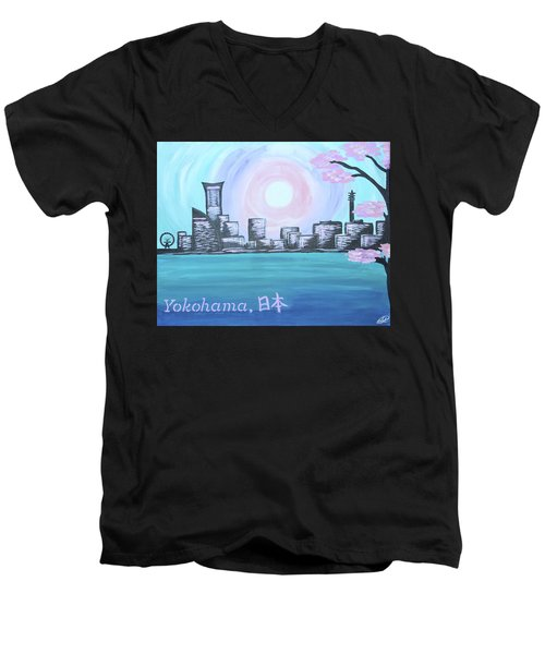 Yokohama Skyline Men's V-Neck T-Shirt by Cyrionna The Cyerial Artist