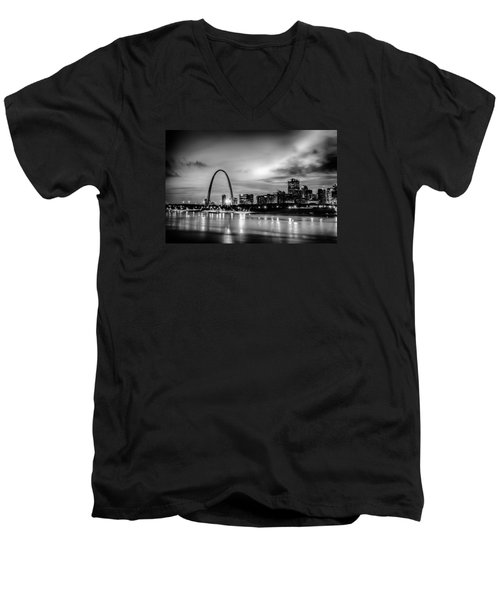 City Of St. Louis Skyline. Image Of St. Louis Downtown With Gate Men's V-Neck T-Shirt by Alex Grichenko