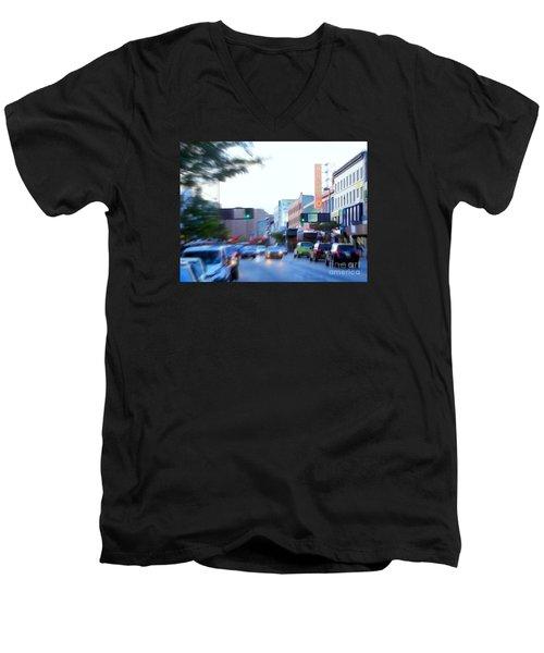 125th Street Harlem Nyc Men's V-Neck T-Shirt by Ed Weidman