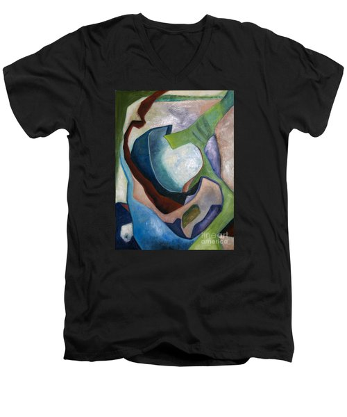 Men's V-Neck T-Shirt featuring the painting 1319 Partial Recall by AnneKarin Glass