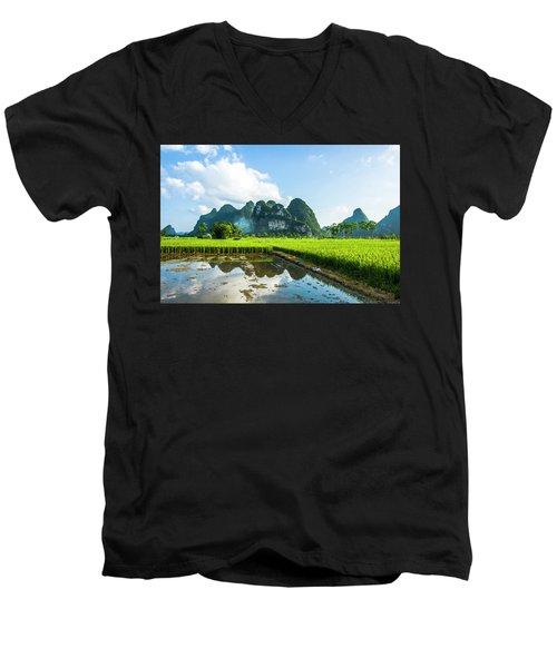 The Beautiful Karst Rural Scenery Men's V-Neck T-Shirt