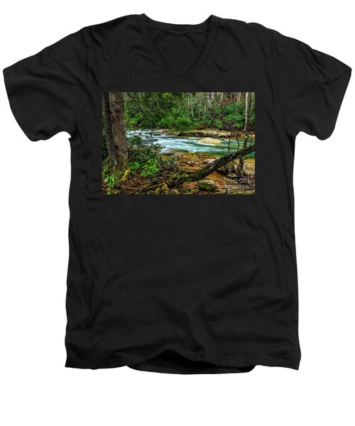 Men's V-Neck T-Shirt featuring the photograph Back Fork Of Elk River by Thomas R Fletcher