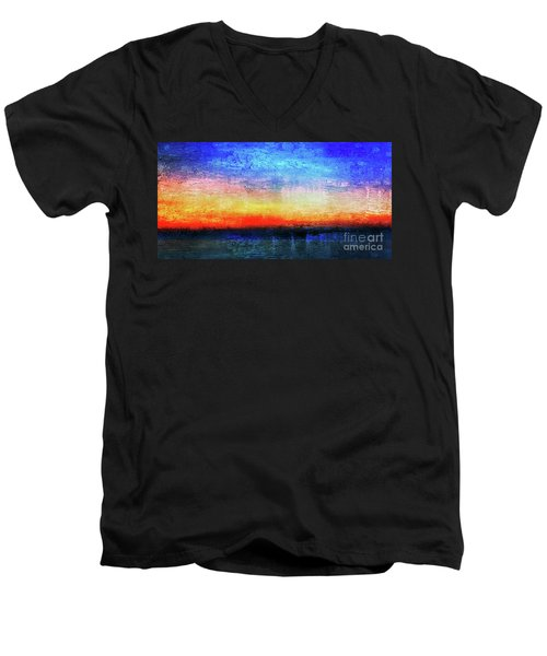 Men's V-Neck T-Shirt featuring the painting 15a Abstract Seascape Sunrise Painting Digital by Ricardos Creations