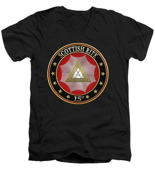 15th Degree - Knight Of The East Jewel On Black Leather Men's V-Neck T-Shirt by Serge Averbukh