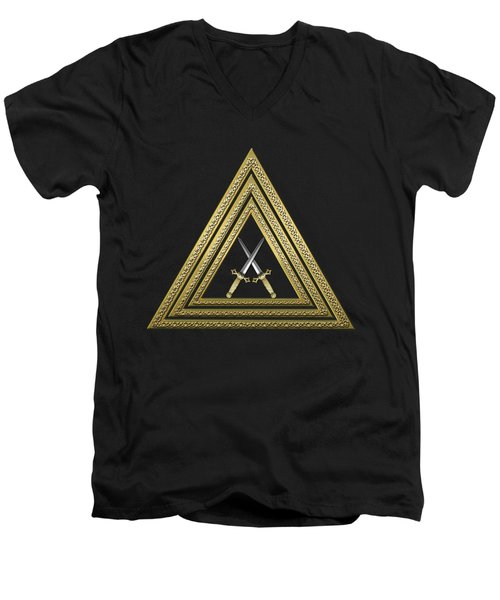 15th Degree Mason - Knight Of The East Masonic Jewel  Men's V-Neck T-Shirt by Serge Averbukh