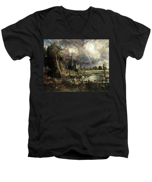 Salisbury Cathedral From The Meadows Men's V-Neck T-Shirt