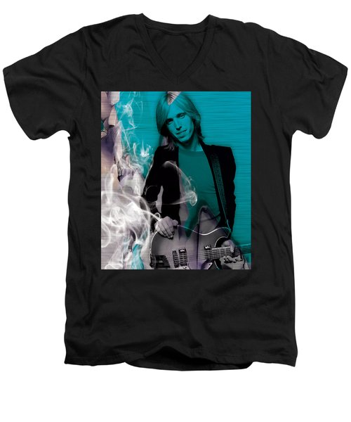 Men's V-Neck T-Shirt featuring the mixed media Tom Petty Collection by Marvin Blaine