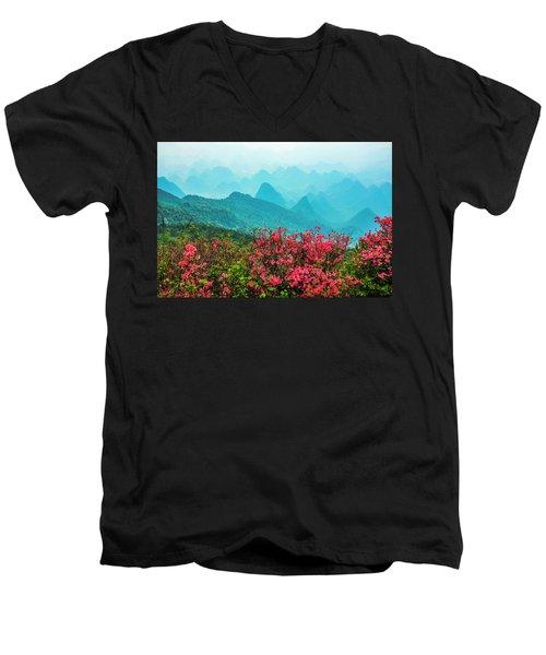 Blossoming Azalea And Mountain Scenery Men's V-Neck T-Shirt