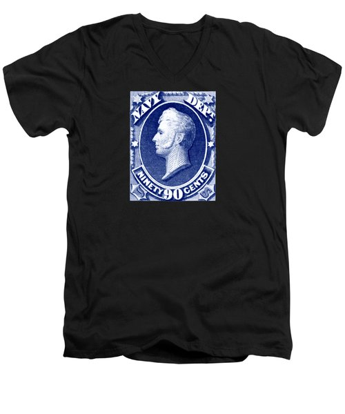 Men's V-Neck T-Shirt featuring the painting 1875 Commodore Perry Us Navy Department Stamp by Historic Image