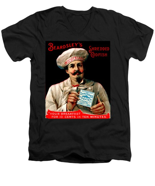 1895 Shredded Codfish Breakfast Men's V-Neck T-Shirt by Historic Image