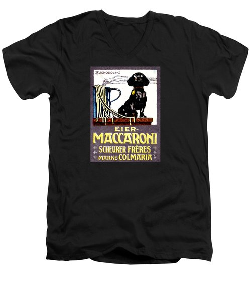 1910 Dachshund And Macaroni Poster    Men's V-Neck T-Shirt by Historic Image