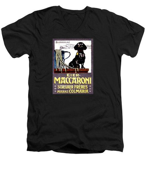 1910 Dachshund And Macaroni Poster    Men's V-Neck T-Shirt