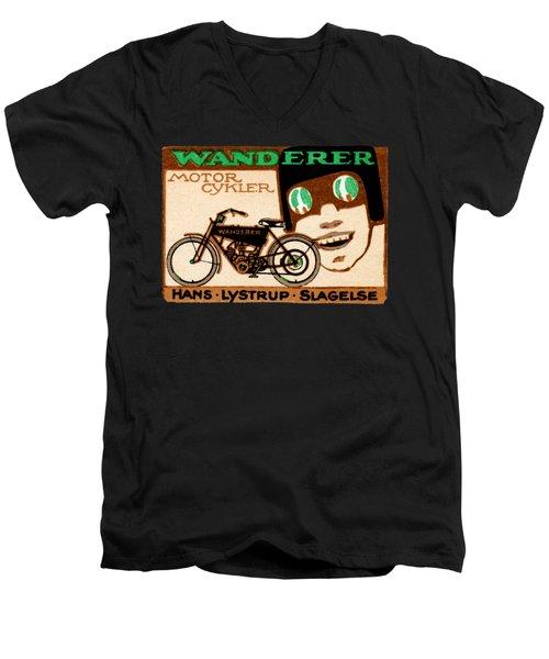 1910 Wanderer Motorcycle Men's V-Neck T-Shirt by Historic Image