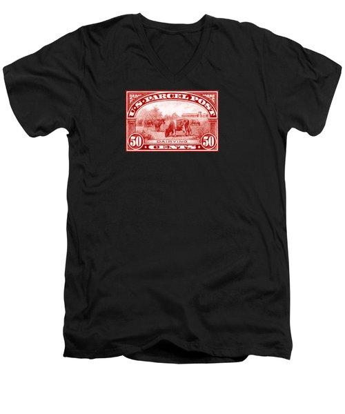 1913 Dairy Industry Stamp Men's V-Neck T-Shirt