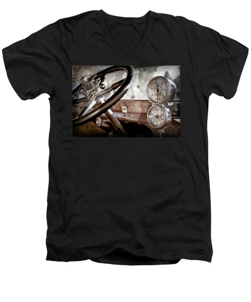 Men's V-Neck T-Shirt featuring the photograph 1914 Rolls-royce 40 50 Silver Ghost Landaulette Steering Wheel -0795ac by Jill Reger