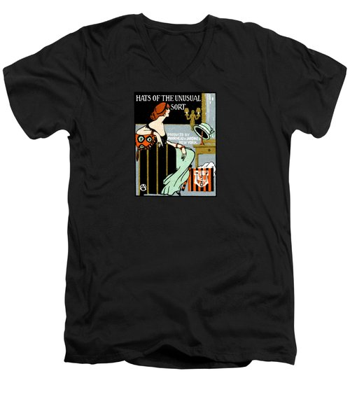 1920 Hats Of The Unusual Sort Men's V-Neck T-Shirt by Historic Image