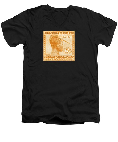 Men's V-Neck T-Shirt featuring the painting 1923 Belgian Congo Ubangi Woman by Historic Image