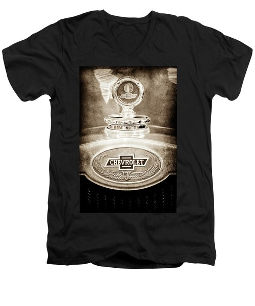 Men's V-Neck T-Shirt featuring the photograph 1928 Chevrolet 2 Door Coupe Hood Ornament Moto Meter -0789s by Jill Reger