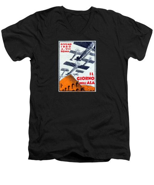 Men's V-Neck T-Shirt featuring the painting 1930 Italian Air Show by Historic Image