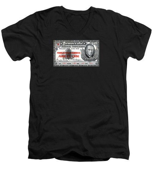 Men's V-Neck T-Shirt featuring the painting 1936 Democrat National Convention Ticket by Historic Image