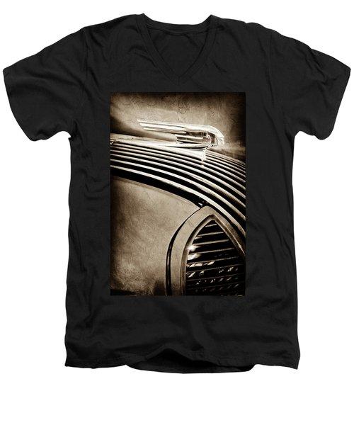 Men's V-Neck T-Shirt featuring the photograph 1936 Pontiac Hood Ornament -1140s by Jill Reger