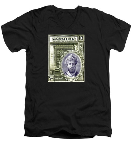 Men's V-Neck T-Shirt featuring the painting 1936 Sultan Of Zanzibar Stamp by Historic Image