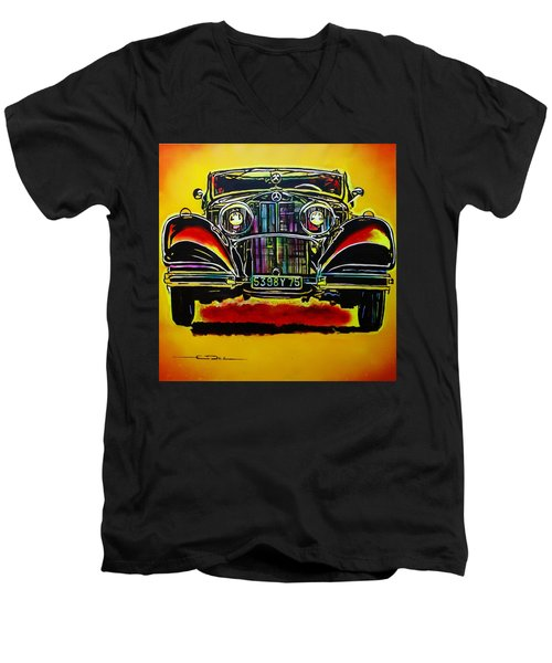 Men's V-Neck T-Shirt featuring the painting 1937 Mercedes Benz First Wheel Down by Eric Dee