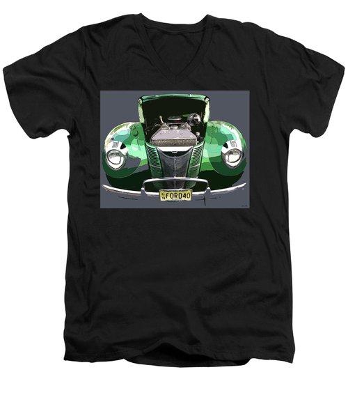 1940 Ford Men's V-Neck T-Shirt by JoAnn Lense
