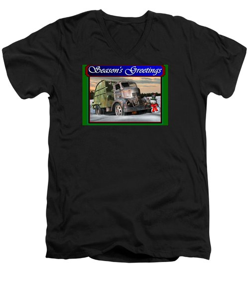 Men's V-Neck T-Shirt featuring the digital art 1940 Gmc Christmas Card by Stuart Swartz