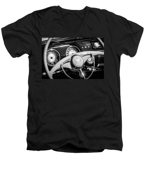 Men's V-Neck T-Shirt featuring the photograph 1941 Lincoln Continental Cabriolet V12 Steering Wheel -226bw by Jill Reger