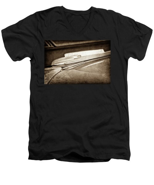 Men's V-Neck T-Shirt featuring the photograph 1948 Chevrolet Hood Ornament -0587s by Jill Reger