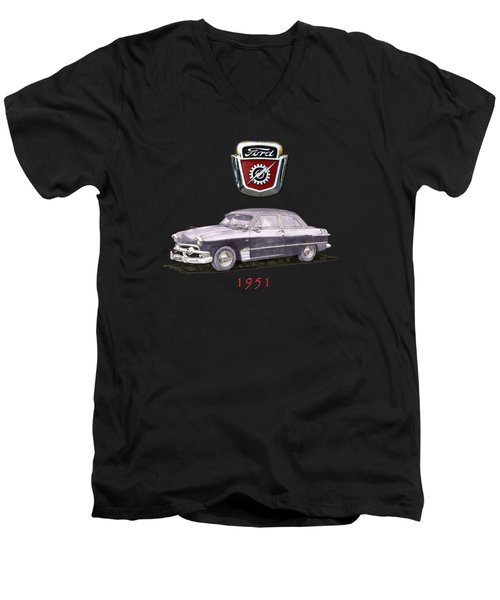1951 Ford Two Door Sedan Tee Shirt Art Men's V-Neck T-Shirt