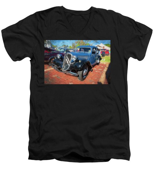 1953 Citroen Traction Avant Men's V-Neck T-Shirt by Rich Franco