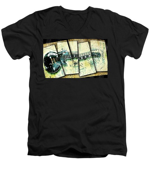 1955 Les Paul Custom Black Beauty V2 Men's V-Neck T-Shirt by Gary Bodnar