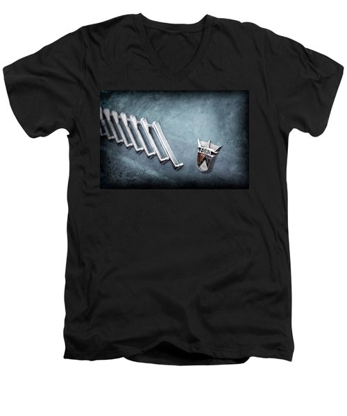 Men's V-Neck T-Shirt featuring the photograph 1956 Ford Thunderbird Emblem -0052ac by Jill Reger