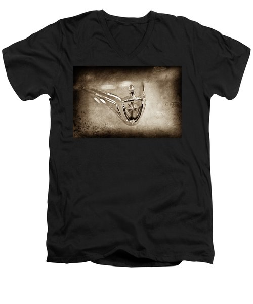 Men's V-Neck T-Shirt featuring the photograph 1956 Lincoln Premier Convertible Hood Ornament -0832s by Jill Reger