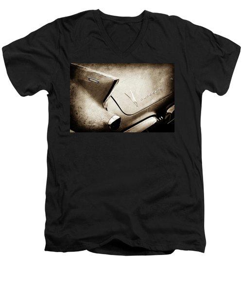 Men's V-Neck T-Shirt featuring the photograph 1958 Cadillac Eldorado Biarritz Taillight Emblems -0255s by Jill Reger