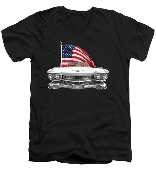 Men's V-Neck T-Shirt featuring the photograph 1959 Cadillac With Us Flag by Gill Billington