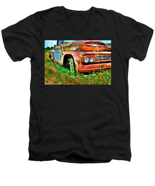 1961 Chevrolet Apache 10 5 Men's V-Neck T-Shirt