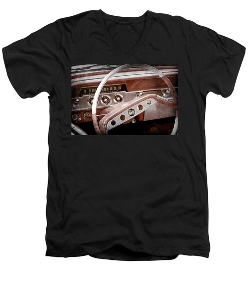 Men's V-Neck T-Shirt featuring the photograph 1961 Chevrolet Impala Ss Steering Wheel Emblem -1156ac by Jill Reger