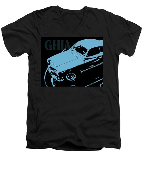 1962 Karmann Ghia Pop Art Blue Men's V-Neck T-Shirt
