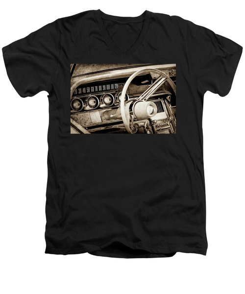 Men's V-Neck T-Shirt featuring the photograph 1964 Ford Thunderbird Steering Wheel -0280s by Jill Reger